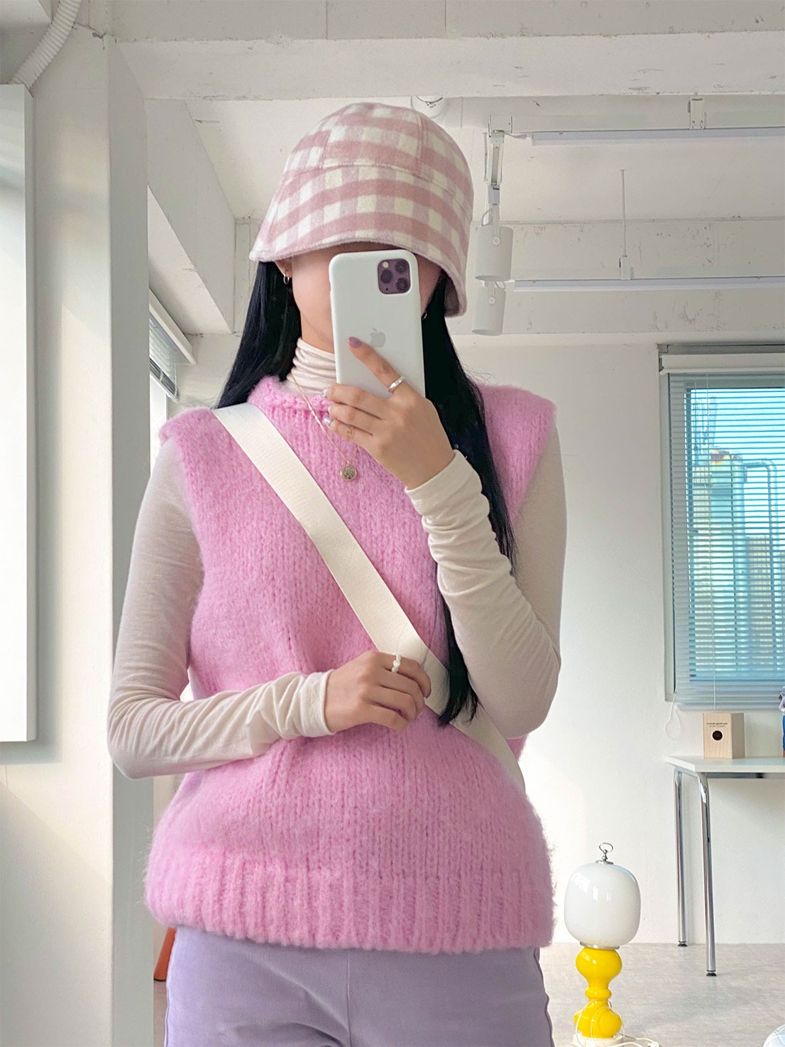knitting wool vest (pink)