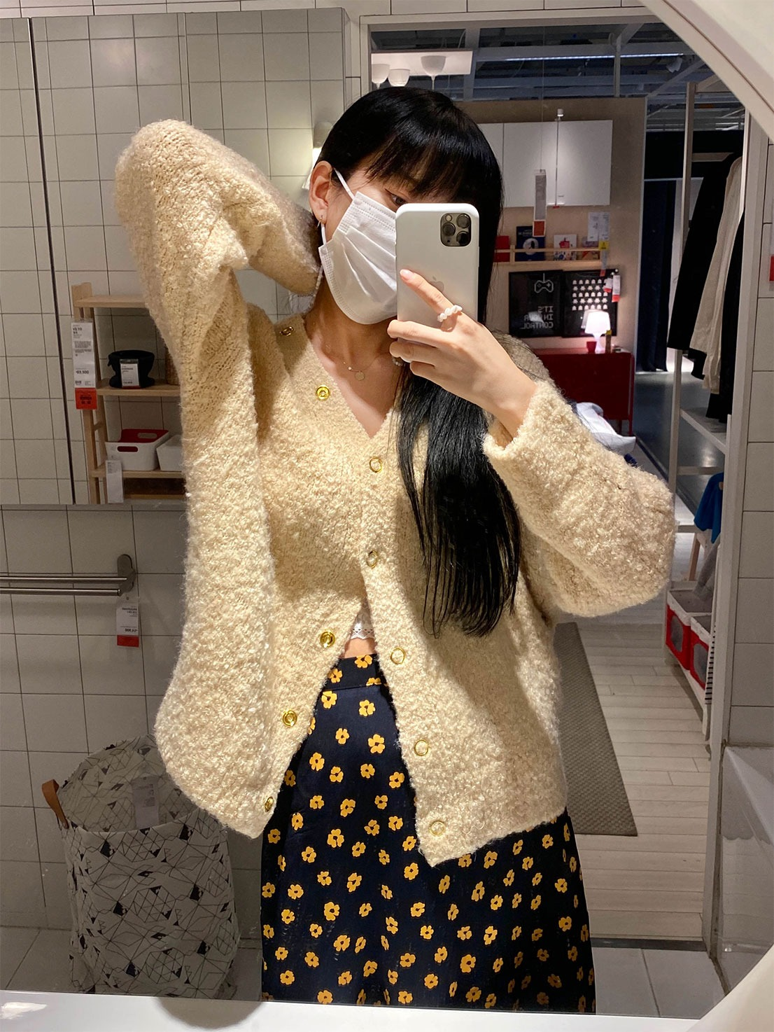 gold button boucle cardigan (ivory)