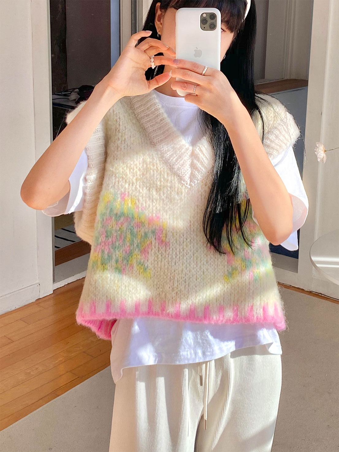 cotton candy knit vest (ivory)