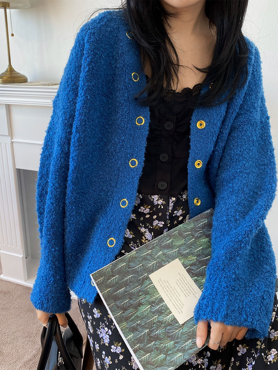 gold button boucle cardigan (blue)