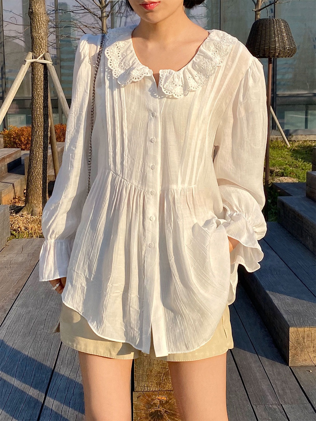 silky lace pintuck blouse