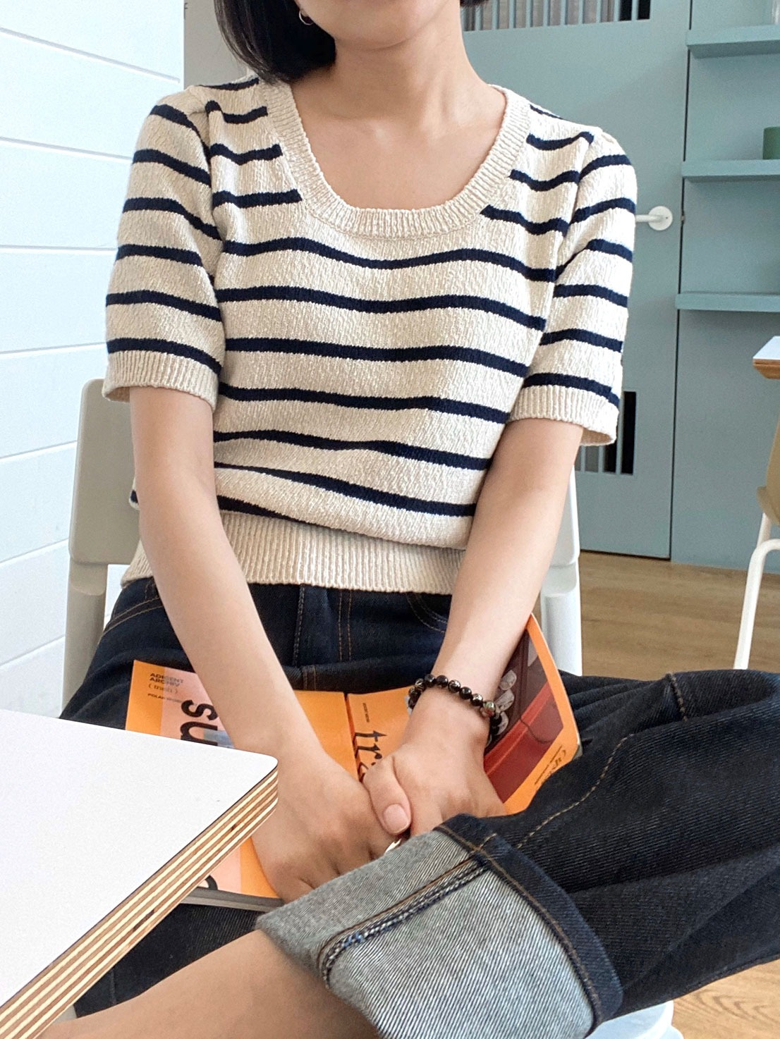 Stripe square half knit